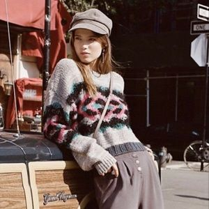 Free People Chunky Crop Sweater, multi, small